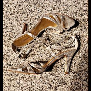 Antonio Melini womens silver high heels. Size 9m.